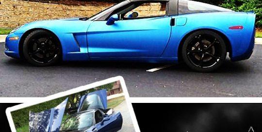 Corvette wrapped in 1080 Matte Metallic Blue vinyl