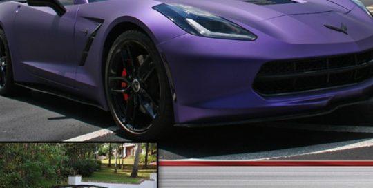 Chevrolet Corvette wrapped in Avery Matte Metallic Purple vinyl