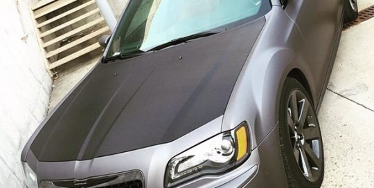 Chrysler wrapped in Avery Matte Charcoal Metallic and Black Carbon Fiber vinyls