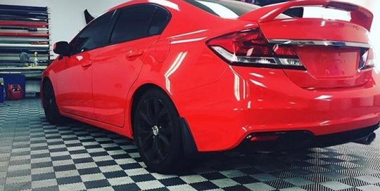 Honda Civic wrapped in Gloss Hot Rod Red vinyl