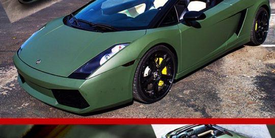Lamborghini wrapped in Matte Military Green vinyl