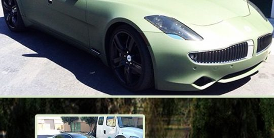 Fisker wrapped in 1080 Matte Military Green