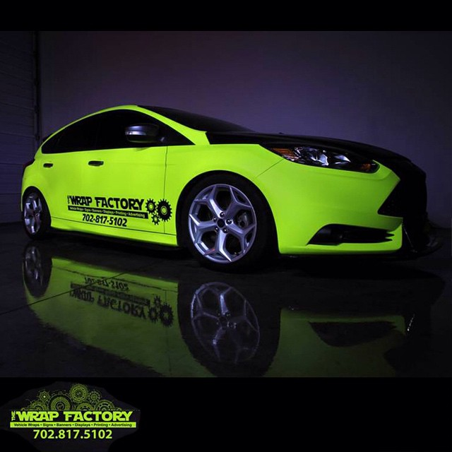 Ford wrapped in Hi Liter (fluorescent) Yellow vinyl