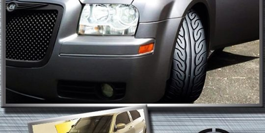 Chrysler wrapped in 1080 Matte Dark Grey vinyl