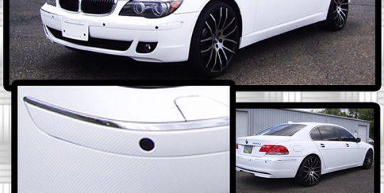 BMW wrapped in 1080 White Carbon Fiber vinyl