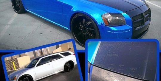 Dodge Magnum wrapped in Avery Blue Chrome vinyl, Black Carbon Fiber, Gloss Black