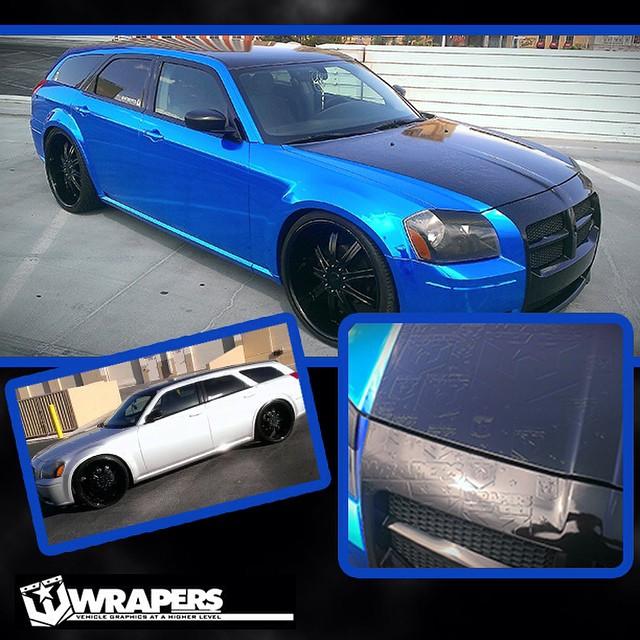 Dodge Magnum Wrapped In Avery Blue Chrome Vinyl Black Carbon Fiber