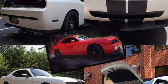 Dodge wrapped in Satin White also used Avery Gloss Black and Carbon Fiber vinyls