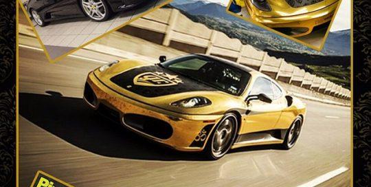 Ferrari wrapped in Avery Gold Chrome, Matte Black and Gloss Black vinyl