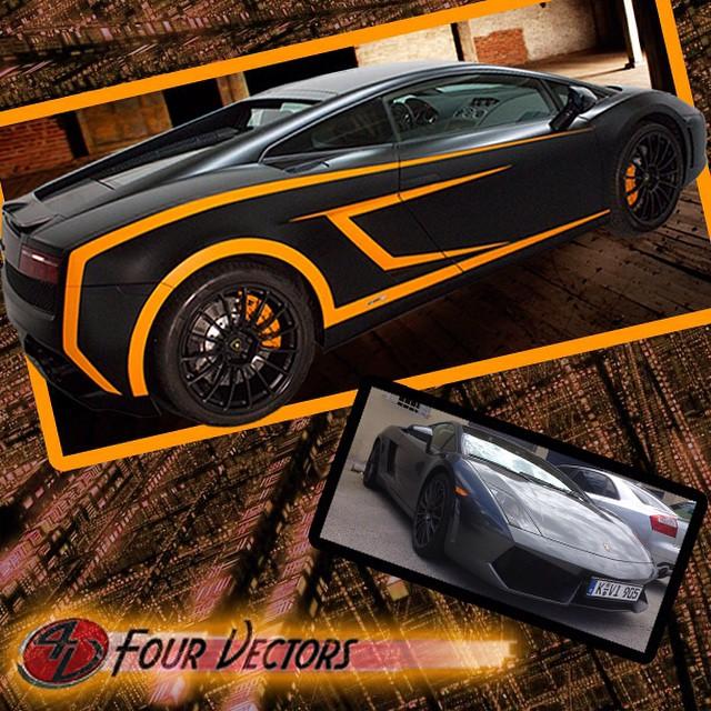 Lamborghini Wrapped In 1080 Satin Black Matte Orange And Gloss