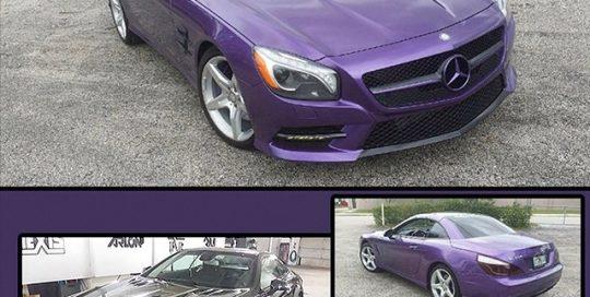 Mercedes Benz wrapped in Oracal 970RA Violet Metallic vinyl
