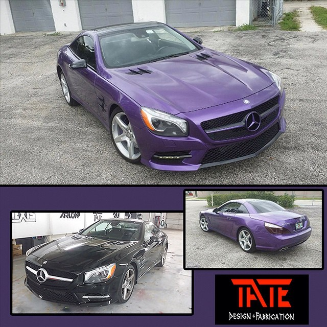 Mercedes Benz wrapped in Oracal 970RA Violet Metallic vinyl