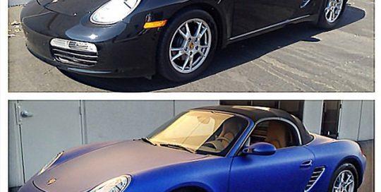 Porsche wrapped in Blue Matte Metallic vinyl