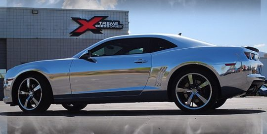 Chevrolet Camaro wrapped in Avery Conform Chrome vinyl
