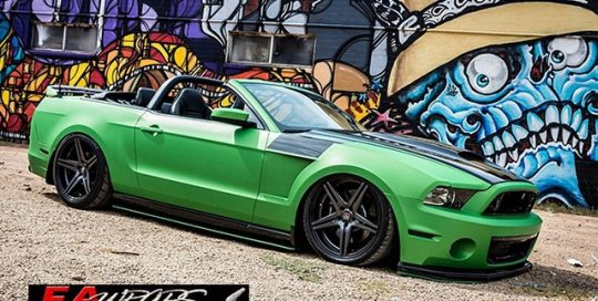 Ford Mustang wrapped in Avery Matte Metallic Green vinyl