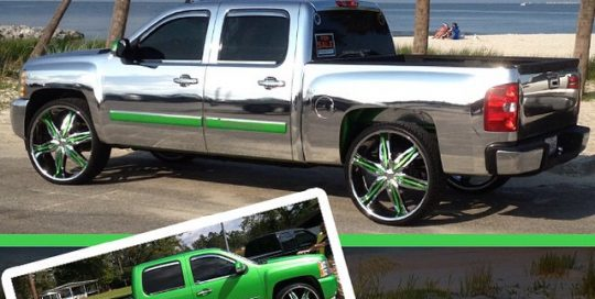 Chevrolet Silverado wrapped in Avery Chrome