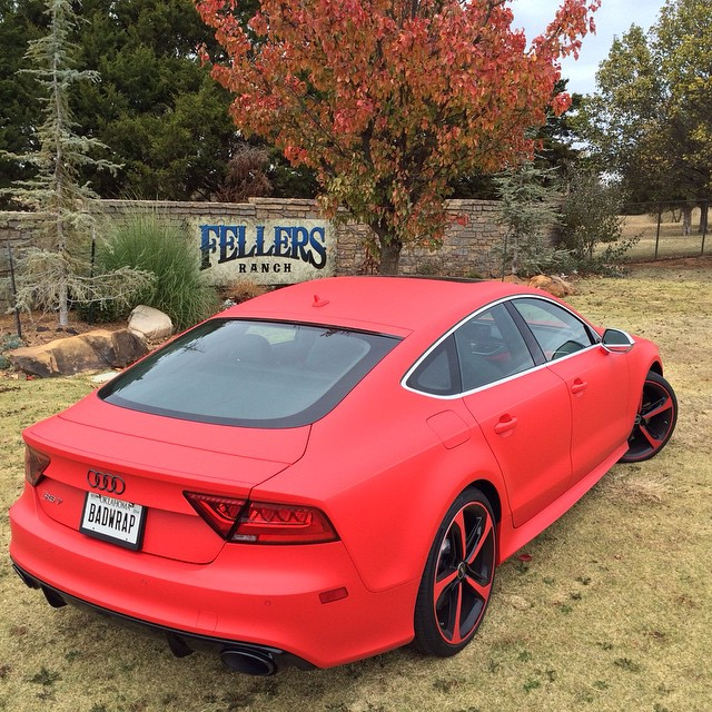 Audi wrapped in Racing Red vinyl
