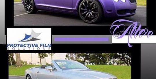Bentley wrapped in Avery Purple Matte Metallic vinyl