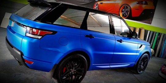 Range Rover wrapped in 3M 1080-S347 Satin Perfect Blue