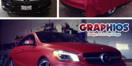 Mercedes Benz wrapped in Avery Matte Metallic Garnet Red vinyl