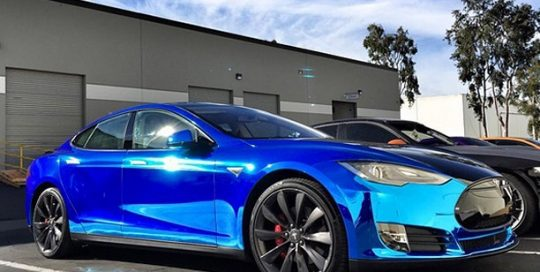 Tesla wrapped in Avery SW900-256 Blue Chrome