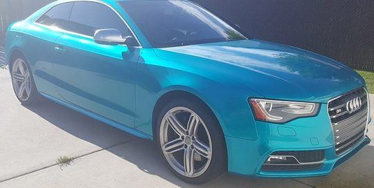 Audi wrapped in 3M 1080-G356 Gloss Atomic Teal