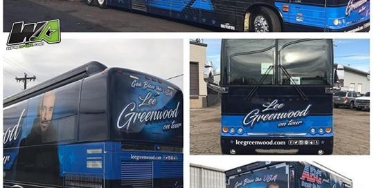 Tour bus wrapped in custom printed 3M IJ180Cv3 vinyl with 8518 Gloss overlaminate