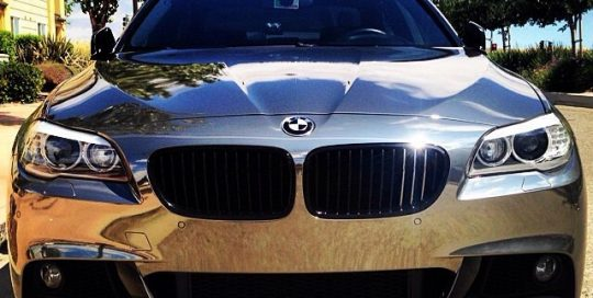 BMW wrapped in Avery Conform Black Chrome vinyl