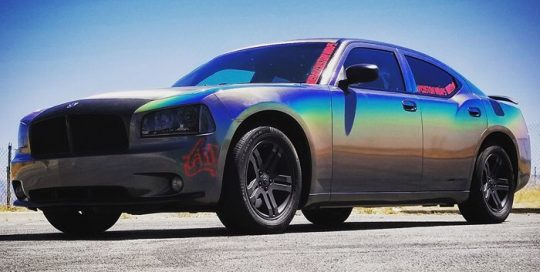 Dodge wrapped in 3M 1080-GP281 Gloss Flip Psychedelic