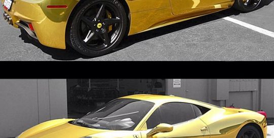 Ferrari wrapped in Avery Gold Chrome