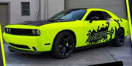Dodge wrapped in Hi Liter Yellow