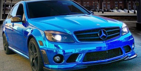 Mercedes Benz wrapped in Avery Blue Chrome