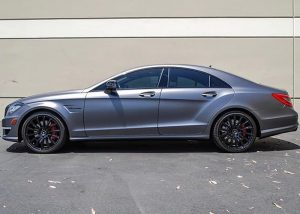 Mercedes Benz wrapped in 1080 Satin Dark Gray vinyl