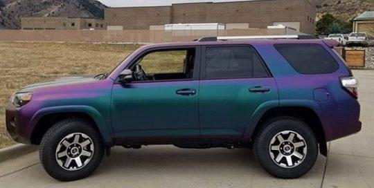 Toyota wrapped in Avery ColorFlow Satin Lightning Ridge Green/Purple shade shifting vinyl
