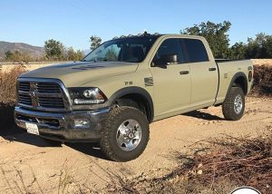 Ram truck wrapped in Avery SW Satin Khaki Green vinyl