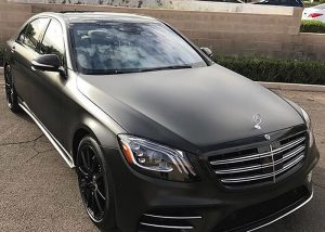 Mercedes Benz wrapped in Avery SW Satin Black vinyl