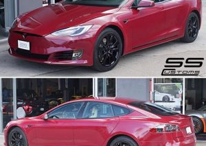 Tesla wrapped in 3M 1080-GP253 Gloss Cinder Spark Red