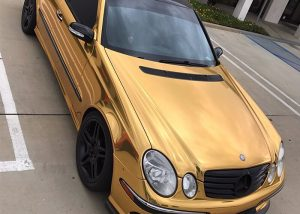 Mercedes Benz wrapped in Avery SW900-604 Gold Chrome