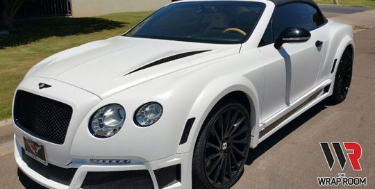 Bentley GT wrapped in Avery SW Metallic Diamond White vinyl