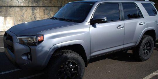 Toyota 4-Runner wrapped in Matte Silver vinyl