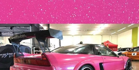 Acura NSX wrapped in Orafol 970RA Telemagenta vinyl and Avery 6040 Sparkle overlaminate
