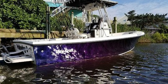 Commercial Boat wrapped in Deep Space Blue/Bronze/Purple shade shifting vinyl