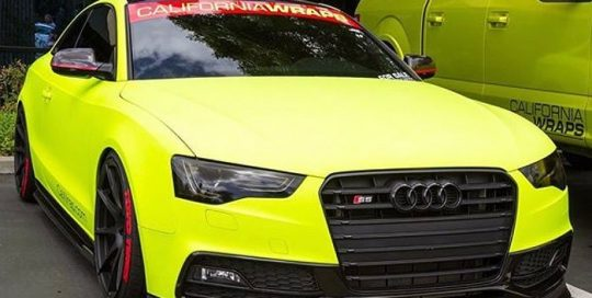 Audi S5 wrapped in Arlon Matte Fluorescent Hi Liter Yellow vinyl