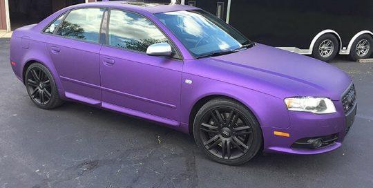 Audi S4 wrapped in Avery SW Matte Purple Metallic vinyl