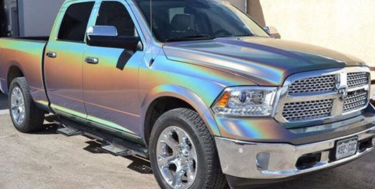 Dodge Ram wrapped in ColorFlip Psychedelic shade shifting vinyl