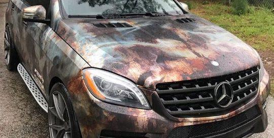 Mercedes Benz wrapped in custom printed Arlon Chrome vinyl