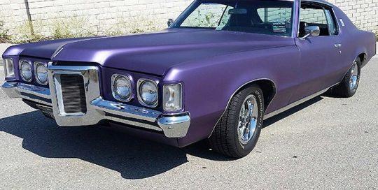 Old School Pontiac Grandprix wrapped in Avery SW Matte Purple Metallic vinyl