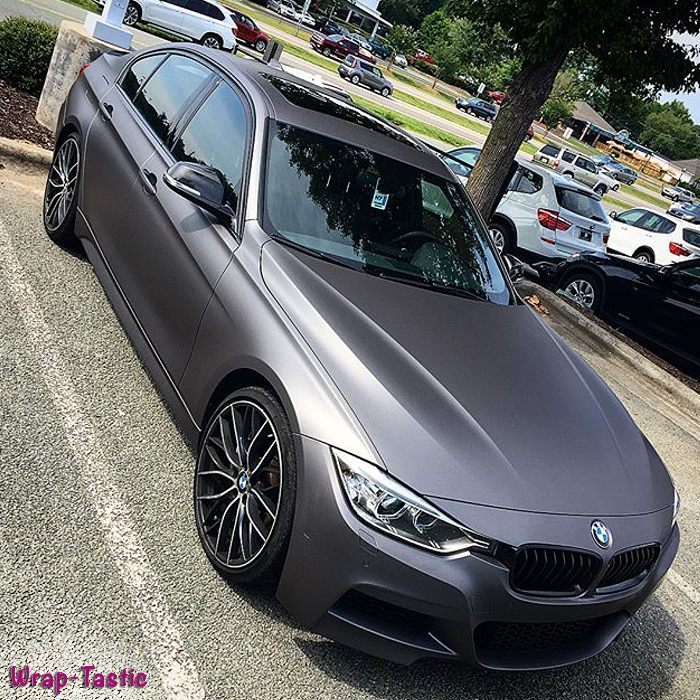 BMW 340-I wrapped in Avery SW900 Matte Charcoal Metallic vinyl