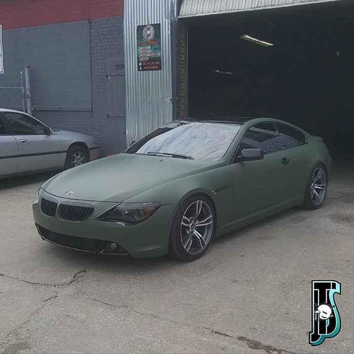 BMW 650-I wrapped in Matte Military Green vinyl