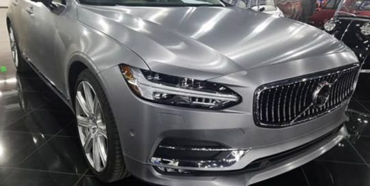 Volvo S90 wrapped in Avery SW Brushed Aluminum vinyl